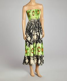 Love this Green Floral Shirred Strapless Dress on #zulily! #zulilyfinds