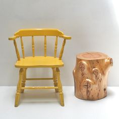 Knotty Tree Stump Side Table Stump Stool by realwoodworks1 on Etsy, $306.00