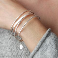 Personalised Ophelia Strand Cuff Bangle, rose gold cuff bracelet, silver multi strand bangle, Mothers day gift, personalized gift for Mom Personalized Gifts For Mom, Sterling Silver Cross, Strand Bracelet, Gold Bangles, Or Rose, Rose Gold Plates, Valentine Gifts, Mother Day Gifts, Bracelets
