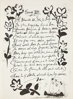 Your work with words could be drawing/writing beautifully a poem you like. Pablo Picasso and Luis de Gongora y Argote. Gongora