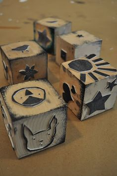photo of selfmade stamps made from self-adhesive craft foam and wood blocks ---- One Golden Apple: Printmaking- Part 1