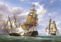 A maritime naval battle scene showing Royal naval frigate HMS Tremendous engaging the French naval Man-of-War Cannonierre during the Napoleonic wars.