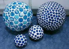 Blue bowling balls ~ I love the one on the top left with all the patterns in the marbles