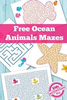 Free Ocean Animals Printable Mazes for Kids | Kids Activities Blog