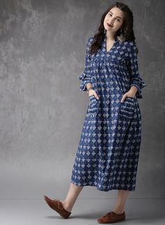 Buy Anouk Navy Blue Printed Pocket Style Kurta online in India at best price.avy blue and off-white printed A-line kurta, has a mandarin collar, three-quarter flared sleeves, flared Simple Kurta Designs, Kurta Designs Women, Kurti Neck Designs, Dress Neck Designs, Designs For Dresses, Cotton Gowns, Cotton Long Dress, Frock Fashion, Fashion Dresses