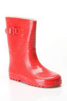Bright red rain boots for the mini!