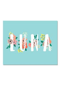 Luna Baby Name Wall Art Luna Baby Name Sign Luna Party ...