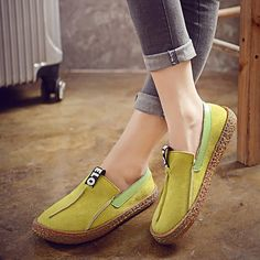 3a433f75f75a42 Big Size Women Casual Round Toe Soft Sole Pure Color Flat Loafers Spring  Shoes