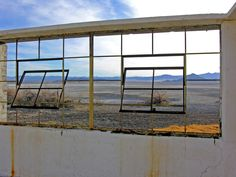 A view of Soda Lake out of the spa window at Zzyzx.