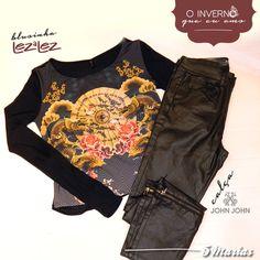 Calça skinny ou capri? O jeans resinado da John John Denim possui 2 versões e para completar blusinha Lez a Lez. Venha conferir,você vai se apaixonar! #5Marias #JohnJohn #LezaLez #lookdodia