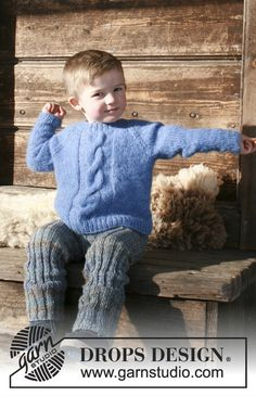 Winter Nap - Knitted children's jumper with cable and raglan. Sizes 2 - 12 years. The piece is worked in DROPS Air. Free knitted pattern DROPS Children 30-7