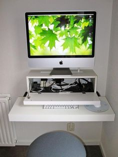 Create a Small Floating iMac Workspace With Ikea Shelves | Apartment Therapy