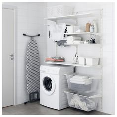 IKEA ALGOT Wall upright/shelves/drying rack White 132 x 41 x 199 cm The parts in the ALGOT series can be combined in many different ways and so can easily be adapted to needs and space. Ikea Laundry Room, Laundry Room Layouts, Laundry Room Cabinets, Laundry Room Organization, Laundry Storage, Laundry Room Design, Closet Storage, Ikea Closet, Storage Shelves