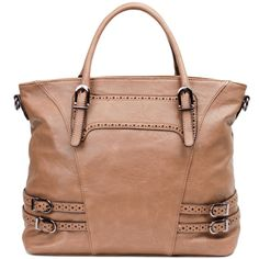 Faux Leather Buckle Trim Tote Bag