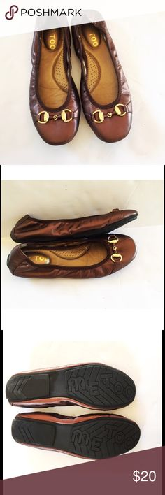 Me Too Legend Bronze Ballet Flats Excellent condition. Worn once. Soft bronze leather with gold tone hardware. Super comfortable!  Comes from a smoke- and pet-free house. Bundle for additional savings!  CLOSET CLOSING 6/30 to 7/20. If you like it, get it now! me too Shoes Flats & Loafers