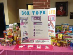 Display and Groceries Display box tops display has section for Labels for education too