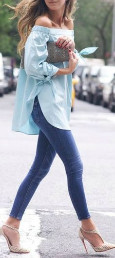 Minty Off Shoulder Top by Something Navy http://www.musaargentina.com.ar/node/954023