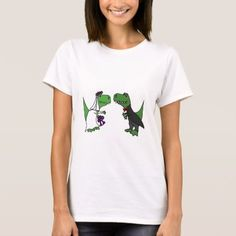 Funny T-rex Dinosaur Bride and Groom Wedding Art T-Shirt - tap to personalize and get yours