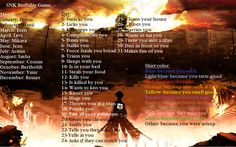 Hanji smacks you because you suck...Well i love u too Hanji ;-; SNK Birthday Game By: HetaliaAmore by HetaliaAmore.deviantart.com on @DeviantArt