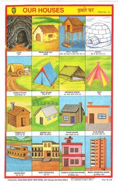 Collection of Indian school posters. Collection of Indian school posters. Family Activities, Preschool Activities, Different Types Of Houses, House Tent, Kindergarten, Home Themes, House On Stilts, Family Theme, House Viewing