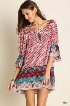UMGEE Floral Print Angel Sleeve Ruffle Detail Boho Dress USA Boutique