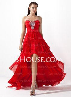 Corte A/Princesa Escote corazón Asimétrico Chifón Charmeuse Vestidos de baile de promoción con Volantes Bordoneado (018004808)