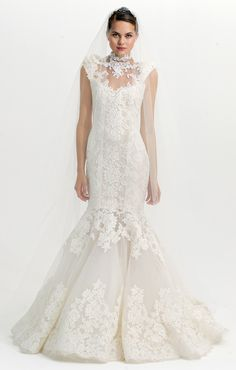 Marchesa couture bridal design - Lace fit-and-flare wedding gown