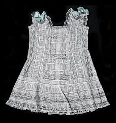 antique ruched batiste and lace insertion baby dress/pinafore ... ca. 1900-15