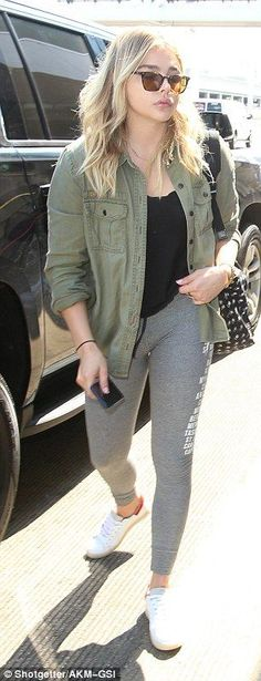 Leisure attire: Chloe was clad in clingy leggings with loose top and comfy jacket