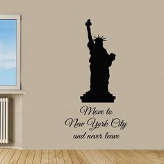 Quote Statue Of Liberty New York City Vinyl Sticker Art Mural Home Interior Kids Room Sticker Decal size 22x35 Color