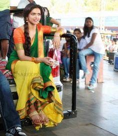 "Beautiful saree and lehenga pictures: Deepika padukone in half saree stills from ""Chennai express"""
