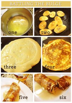 Weight watchers or not....this looks like Sat. breakfast to me!!! | Weight Watchers Banana-Stuffed Pancake - 3 points!!!  (6 with syrup)