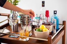 Trick out your home bar cart with washi tape.