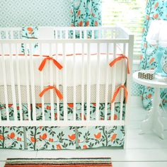 New Arrivals Inc - nurseries - crib bedding, baby bedding, nursery, baby, lavender, green, infant bedding, nursery bedding, aqua and orange ...