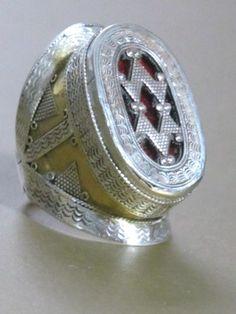 Khazaki Turkmen Tribal Jewelry Ornate Men's Silver Ring