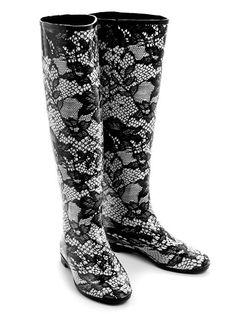 Lace Print Rain Boots