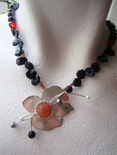 OOAK Sterling Silver Bird with Orange Gem Stone by BijouxEmmElle, $89.00