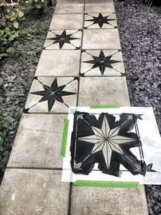 How to makeover a concrete slab patio/path for under > Let's Talk. How to makeover a concrete slab patio/path for under > Let's Talk. Concrete Slab Patio, Painted Concrete Floors, Concrete Flags, Stenciled Concrete Floor, Painted Pavers, Pavers Patio, Concrete Stepping Stones, Patio Tiles, Painting Concrete