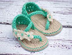 Summer crochet baby slippers