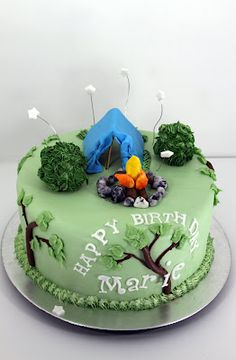 C&ing Cake & Timu0027s Tent Cake - Square cakes cut in half diagonally placed on ...