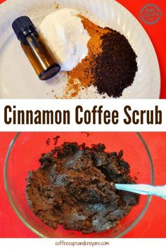 """This Cinnamon Coffee Scrub is invigorating, smells delicious and is a great """"perk-me-up"""". #CoffeeScrubBeforeAndAfter Coffee Cellulite Scrub, Coffee Face Scrub, Diy Body Scrub, Diy Scrub, Spas, Cinnamon Coffee, Cinnamon Oil, Peeling, Homemade Beauty Products"""