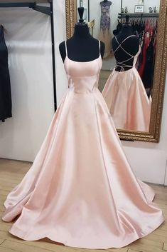 Pink Satin Backless Long Simple Prom Dress, Pink Evening Dress A-Line Elegant Gold Long Women Formal Prom Dresses,Evening Gowns Prom Dresses With Pockets, Prom Dresses Two Piece, Pretty Prom Dresses, Simple Prom Dress, Pink Prom Dresses, Dance Dresses, Elegant Dresses, Cute Dresses, Beautiful Dresses