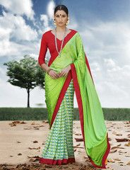 Viva N Diva Green Color Satin Jacquard & Georgette Saree.
