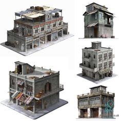 Game Ready Building Collection 3D Models for…