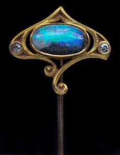 This is not contemporary - image from a gallery of vintage and/or antique objects. Art Nouveau Gold, Opal And Diamond Stick Pin Opal Jewelry, Jewelry Art, Antique Jewelry, Vintage Jewelry, Fine Jewelry, Vintage Hats, Bijoux Art Nouveau, Art Nouveau Jewelry, Chasing Unicorns