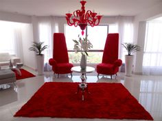 Let the color of passion makes you fall in love everytime you get home. Red Living Room Decor, Classy Living Room, Living Room Sofa Design, Colourful Living Room, Living Room Colors, Living Room Designs, Red Interior Design, Home Decor Furniture, Decoration