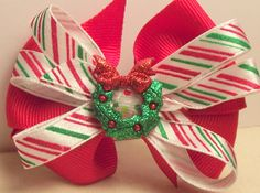 Christmas Wreath 3 Red Hair Bow Candy Stripe accent by MyCutieBows, $3.50