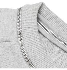 Gray sweatshirt with unusual zipper trim on neckline.. DIY the look yourself: http://mjtrends.com/pins.php?name=zipper-for-sweatshirt