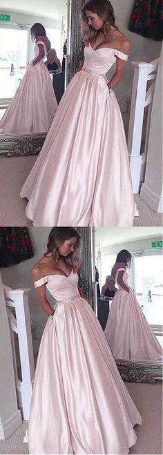 Sale Beautiful Prom Dresses 2018 Elegant Satin Off-the-shoulder Neckline A-Line Prom Dresses With Beading Pink Bridesmaid Dresses Short, High Low Prom Dresses, Elegant Prom Dresses, Long Prom Gowns, A Line Prom Dresses, Beautiful Prom Dresses, Dance Dresses, Long Dresses, Dress Prom
