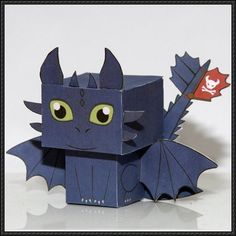 How to Train Your Dragon - Toothless Cube Craft Free Paper Toy Download | PaperCraftSquare.com